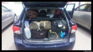 Mūsų bagažinės vaizdas kelionėje po Šveicariją